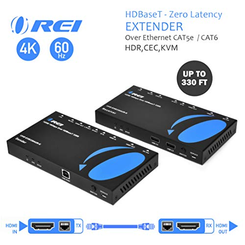 4K HDMI Extender Balun by OREI - HDBaseT UltraHD 4K @ 60Hz 4:4:4 Over Single CAT5e/6/7 Cable with HDR, KVM, CEC, ARC & IR Support, RS-232 - Up to 330 Ft - Audio Out - Power Over Cable - Audio Out