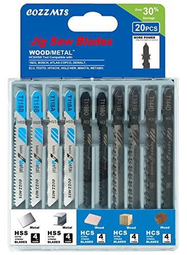 20PCS T Shank Jigsaw Blades Set for Wood Plastic Metal Replace Bosch DEWALT BLACK+DECKER TACKLIFE Makita SKIL and Rockwell BladeRunner X2 Jig Saws Includes 4 Each of T101B T119BO T144D T118A & T118B