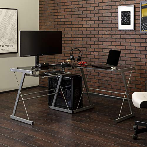 Walker Edison Furniture Company Modern Corner L Shaped Glass Computer Writing Gaming Gamer Command Center Workstation Desk Home Office, 51 Inch, Smoke Grey