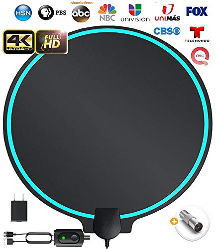 All-New 2020 Indoor HDTV Digital Antenna 4K HD Freeview Life Local Channels All Type Television Switch Amplifier Signal Booster to 150 Mile, Professional Round Shape