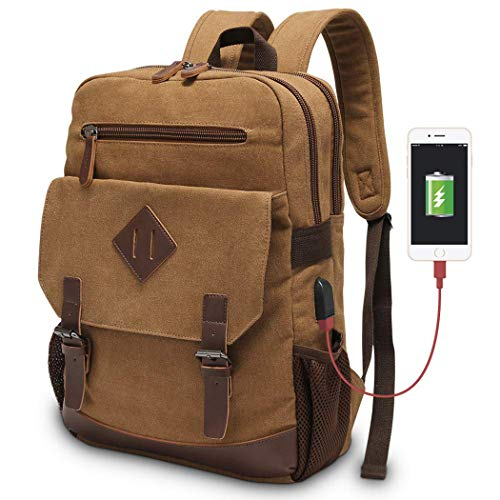 Modoker Mens Vintage Backpack for Men, Canvas Bookpack Fits Most 15.6 Inches Computer and Tablets, Rucksack Backpack with USB Charging Port, Brown