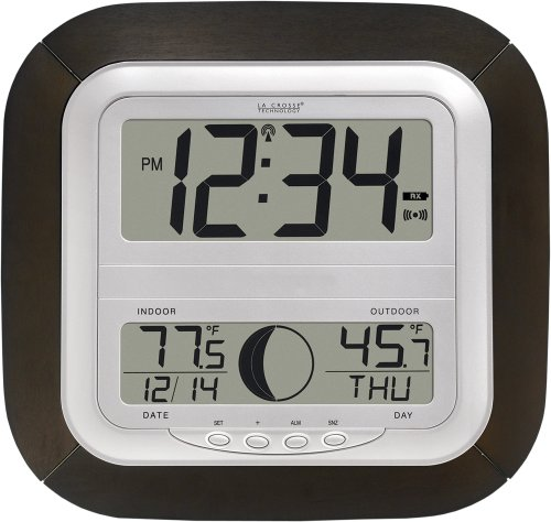 La Crosse Technology WS-8418U-IT Atomic Digital Wall Clock with Moon Phase
