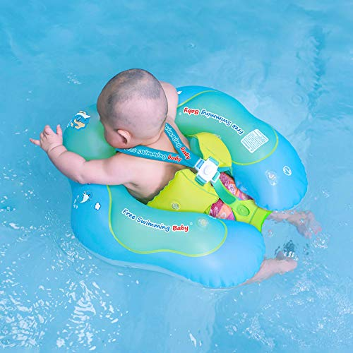 Free Swimming Baby Inflatable Baby Swim Float Children Waist Ring Inflatable Pool Floats Toys Swimming Pool Accessories for The Age of 3-72 Months(Blue, L)