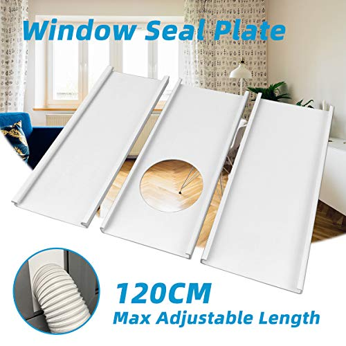 """Jeacent Window Seal Plates Kit for Portable Air Conditioners, Plastic AC Vent Kit for Sliding Glass Doors and Windows - Adjustable Length Panels for Exhaust Hose of 5"""" Diameter"""