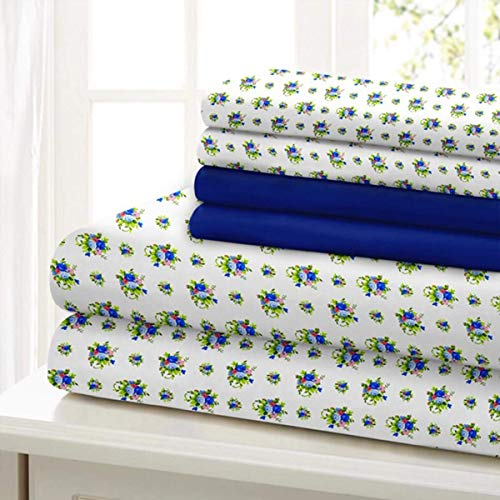Traditional Home Sheet Set Cotton Percale 6 Piece Print Twin Full Queen King Soft (Blue Green Flower, Queen)