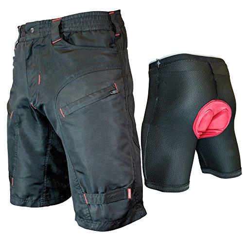 THE SINGLE TRACKER-Mountain Bike Cargo Shorts, With Premium Antibacterial G-tex Padded Undershorts, Medium 29-31'