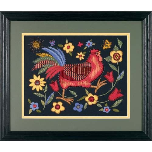 Dimensions Rooster on Black Crewel Embroidery Kit, 11'' W x 14'' H