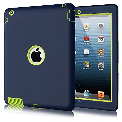 iPad 2 Case, iPad 3 Case,Fingic iPad 4 Case Full Body 3 Layer Heavy Duty Shock-Absorption High Impact Resistant Hybrid Rugged Protective Case for Apple iPad 2/3/4 Retina,Navy Blue&Green