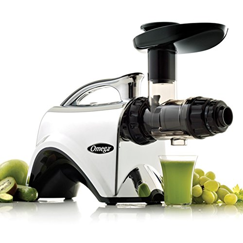 Omega NC900HDC Juicer Extractor and Nutrition Center Creates Fruit Vegetable and Wheatgrass Juice Quiet Motor Slow Masticating Dual-Stage Extraction with Adjustable Settings, 150-Watt, Metallic