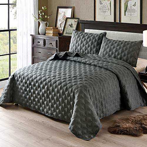 Exclusivo Mezcla 3-Piece Queen Size Quilt Set with Pillow Shams, as Bedspread/Coverlet/Bed Cover(Ellipse Steel Grey) - Soft, Lightweight, Reversible and Hypoallergenic