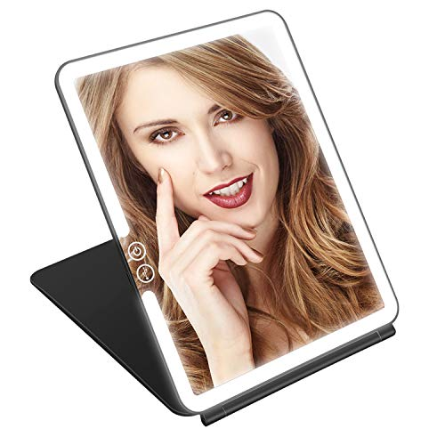 KEDSUM Rechargeable Lighted Makeup Mirror with Cover, Super Bright LED Travel Mirror with Lights, Compact Light Vanity Mirror with Touch Screen Dimming, USB Rechargeable Battery