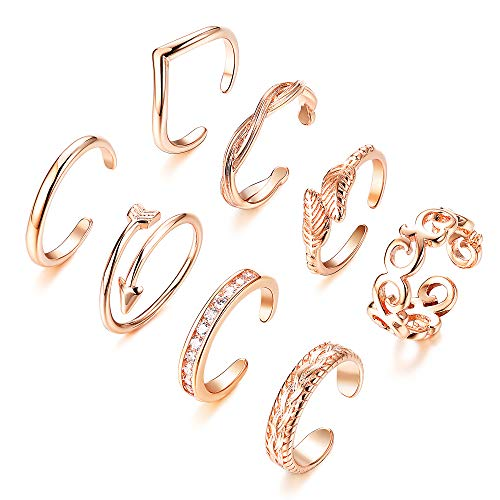 Finrezio 8PCS Adjustable Toe Ring for Women Girls Open Tail Ring Flower Knot Simple Toe Ring Gifts Jewelry Set