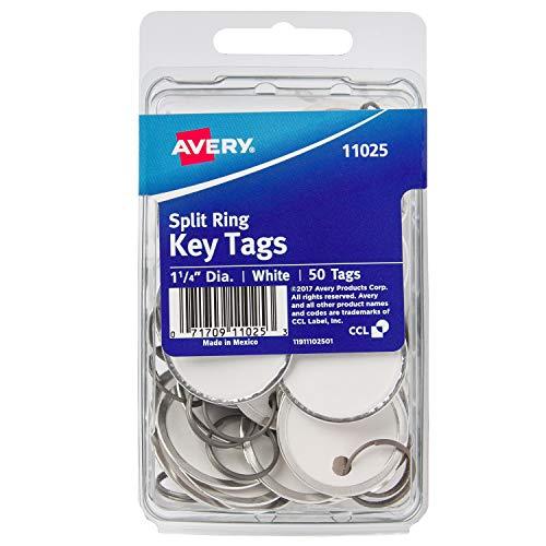 AVERY Metal Rim Key Tags, 1.25' Diameter Tag, Metal Split Ring, White, 50 Tags (11025)
