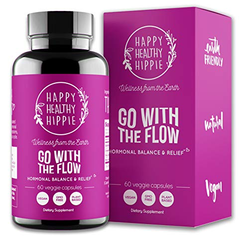 Go with The Flow Hormone Balance for Women - Supports All Hormonal Stages | PMS PMDD Relief | Hot Flashes Menopause Relief | 100% Plant Based | 60 Vegan Non-GMO Capsules