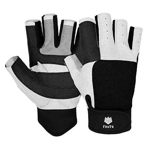 FitsT4 Sailing Gloves 3/4 Finger and Grip Great for Sailing, Yachting, Paddling, Kayaking, Fishing, Dinghying Water Sports for Men and Women Black M