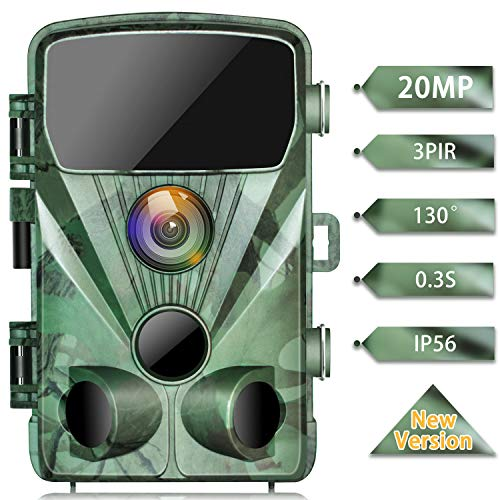 TOGUARD Trail Camera 20MP 1080P Game Cameras with Night Vision 2.4' LCD 130 Detection Motion Activated Waterproof Deer Trap Cam for Hunting and Wildlife Monitoring