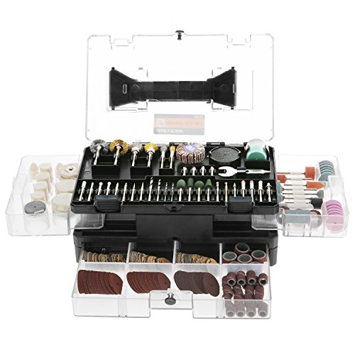 Rotary Tool Accessories Kit, Meterk 349pcs Grinding Polishing Drilling Kits, 1/8' Shank Electric Grinder Universal Fitment for Easy Cutting Grinding Sanding Sharpening Carving Polishing (349pcs)