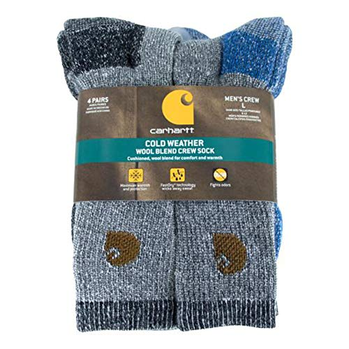 Carhartt Men's A118-4 Cold Weather Wool Blend Crew Socks (Pack of 4), Blue/Black, Shoe Size: 6-12