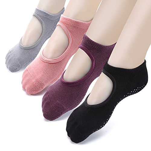 Yoga Socks Non Slip Skid Pilates Ballet Barre with Grips for Women Girls 4 Pack by Cooque (yoga socks-4 pack) ……