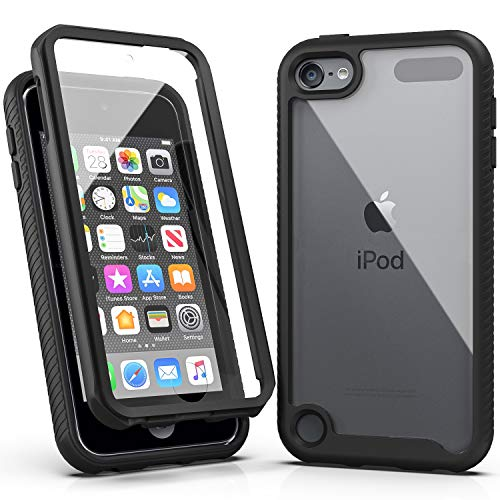 iPod Touch 7 Case,iPod Touch 6 Case,SLMY Armor Shockproof Case with Build in Screen Protector Heavy Duty Shock Resistant Hybrid Rugged Cover for Apple iPod Touch 5/6/7th Generation-Black