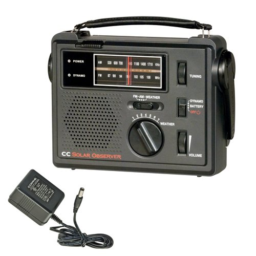 C. Crane CC Solar Observer Wind Up Solar Emergency Crank Radio with AM, FM, NOAA Weather, Built in LED Flashlight, Cellphone Charger and AC Adapter