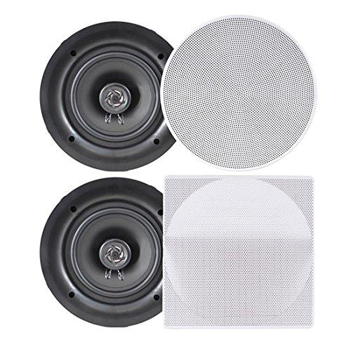 Pyle Ceiling Speakers - Stereo Home Theater Speakers - in Wall Speakers Flush Mount - 8-Inch White 250 Watt, 2-Way, (Pair) (PDIC86)