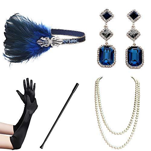 BABEYOND 1920s Flapper Accessories Gatsby Costume Accessories Set 20s Flapper Headband Pearl Necklace Gloves Cigarette Holder (Set-126)