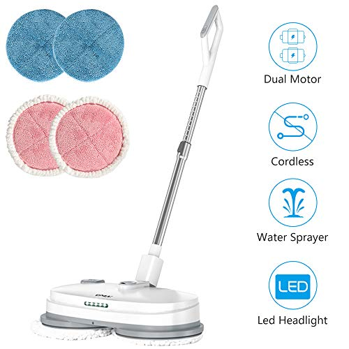 Electric Mop, Cordless Electric Spin Mop, Hardwood Floor Cleaner with Built-in 300ml Water Tank, Polisher with Led Headlight and Sprayer, Scrubber for Hard Floor & Tile, Powerful Cleaner and Waxing
