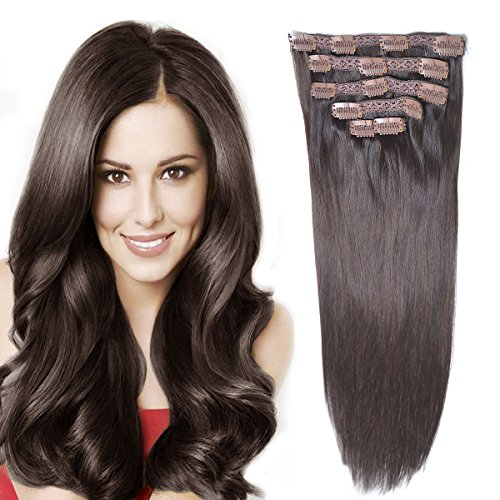 14'Remy Human Hair Clip in Extensions for Women Thick to Ends Dark Brown(#2) 6Pieces 70grams/2.45oz