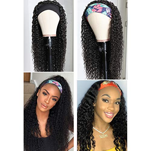 180% Density Headband Wig Kinky Curly Human Hair Wigs Original Queen None Lace Front Wigs for Black Women Deep Curly Machine Made Wigs Natural Color 20inch