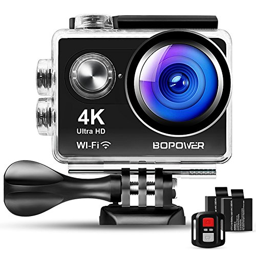 4K Action Camera, Bopower 60fps WiFi Sport Anti-Shake Waterproof 30m Camera with 10m Wireless Remote, Full HD 2.0' Display, 170 Degree Ultra Wide Lens, 2Pcs 1050mah Batteries, Accessories