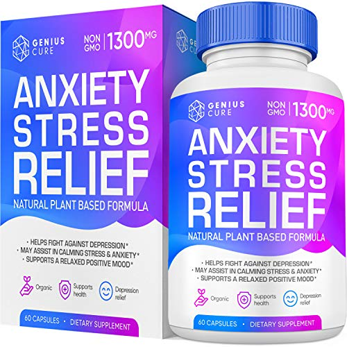Genius Anxiety & Stress Relief Supplement, Helps Relax The Mind, Boosts Mood, Natural Herbal Formula to Relieve Stress, 60 Capsules
