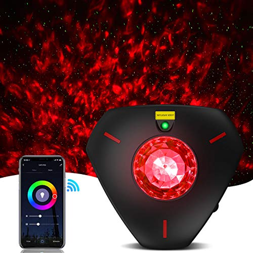 Star Projector Night Light Galaxy Projector Light Smart Life Work with Alexa Google Home Ocean Wave Night Sky Projector Star Lights for Bedroom for Baby Kids Adults (WiFi Control) (Black)