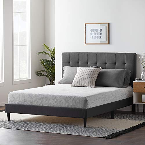 LUCID Upholstered Bed with Square Tufted Headboard-Linen Inspired Fabric –Sturdy Wood Build –No Box Spring Required Platform, Full, Charcoal