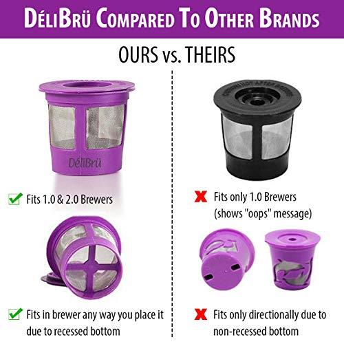 Reusable K Cups for Keurig 2.0 & 1.0 4PACK Coffee Makers. Universal Refillable KCups, Keurig filter, Reusable kcup, k cup k-cups reusable filter by Delibru