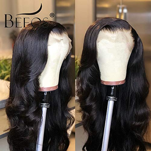 BEEOS 9A 360 Lace Frontal Human Hair Wigs,150% Density Pre Plucked and Bleached Knots with Baby Hair,Free Part Body Wave Natural Black Remy Invisible Lace Wigs(18 inch)