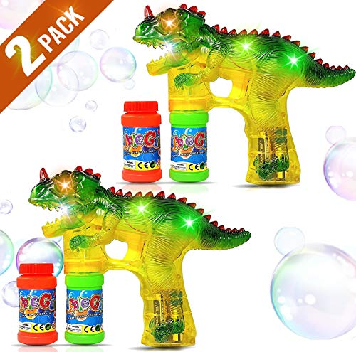 Haktoys 2-Pack Jurassic Dinosaur Light Up Bubble Gun Shooter | Bubble Blower for Toddlers, Kids, Parties | LED Flashing Lights, Extra Refill Bottles, Sound-Free, Batteries Included