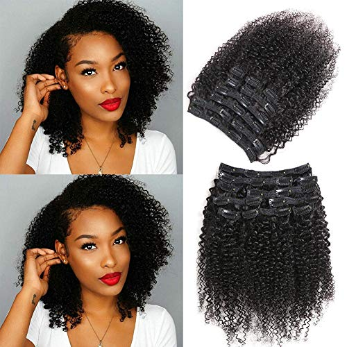 Urbeauty 14' Afro Coily Hair Clip Ins for African American Black Women 4B/4C Textured Curly Clip in Human Hair Extensions (#1B Natural Black,10Pcs/100g)