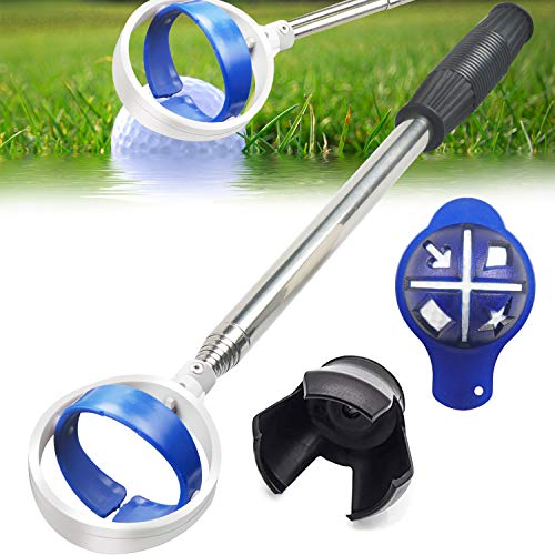 Golf Ball Retriever, Extendable Golf Ball Retriever for Water [Longest 106''] w/Golf Ball Pick Up Retriever Grabber Claw Sucker Tool, Golf Gift for Men Dad Husband, Length: 8.8 Ft / 2.6 m