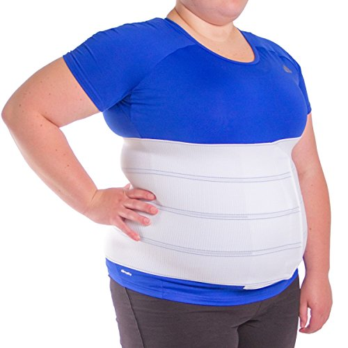 BraceAbility 2XL Plus Size Bariatric Abdominal Stomach Binder   Obesity Girdle Belt for Big Men & Women with a Large Belly, Post Surgery Tummy & Waist Compression Wrap