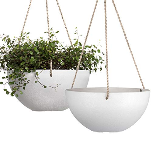White Hanging Planter Basket - 10 Inch Indoor Outdoor Flower Pots, Plant Containers with Drainage Hole, Plant Pot for Hanging Plants, Pack 2