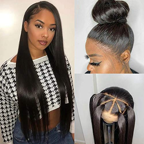 360 Lace Frontal Wig Straight for Black Women Pre Plucked with Baby Hair, Glueless 150% 180% Density 360 Lace Front Wig Brazilian Virgin Human Hair (18', Natural Black-150%)