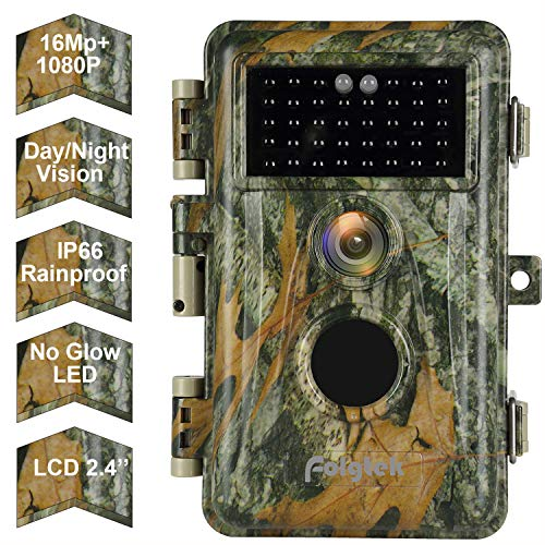 """[2020 New] Folgtek Trail Camera Game Scouting Wildlife Deer Hunting Cam - 16MP 1080P, No Glow Night Vision, Motion Activated, IP66 Waterproof, 0.6S Fast Trigger, 2.4"""" LED Screen, Photo & Video Model"""