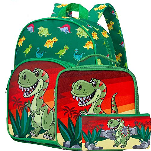 3 PCS Toddler Backpack Boys, 12.5' Dinosaur Preschool Bag and Lunch Box Set