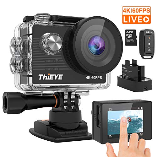 ThiEYE T5 Pro Action Camera Ultra 4K 60fps 20MP Live Streaming Touch Screen EIS 60M Underwater Waterproof WiFi 8X Zoom Sports Camera Remote Control Video Camcorder with 2 Batteries and Accessories Kit