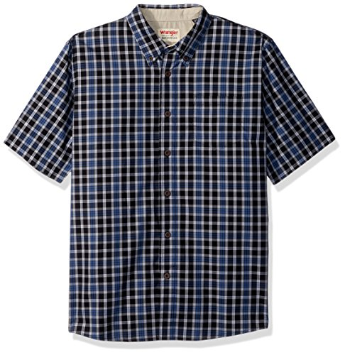 Wrangler Authentics Men's Short Sleeve Plaid Woven Shirt, Caviar, L