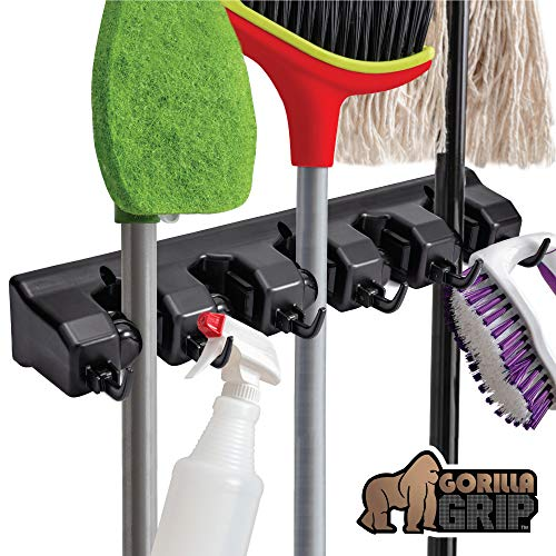 Gorilla Grip Premium Mop and Broom Holder, 5 Auto Adjust Slots, 6 Hooks, Holds Up to 50 Lbs, Easy Install Wall Mount, Store Cleaning and Gardening Tools, Organize Kitchen, Garage, Storage Rooms, Black