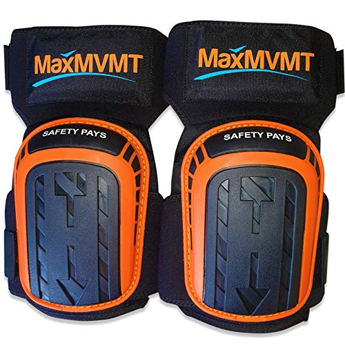 Knee Pads for Work with Gel by MaxMVMT - Professional Tools for Construction Flooring Tiling Gardening Mechanics Plumbers and more - Heavy Duty Kneepads - Thigh Support - Long Lasting Comfort