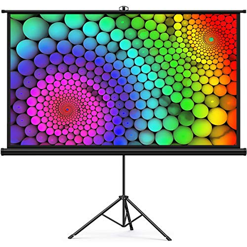 Projector Screen, Keenstone Outdoor Indoor PVC Projection Screen with Stand Foldable Portable Movie Screen 100 Inch (16:9) Full-Set Bag for Home Theater Camping and Recreational Events