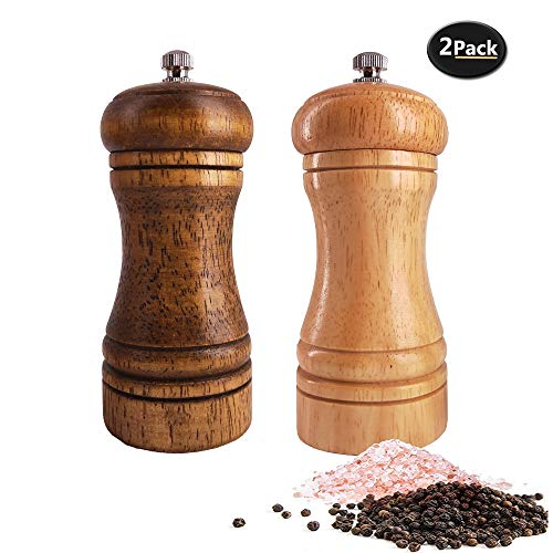 Salt and Pepper Grinders Set,Ouktor Manual Wooden Salt and Pepper Mills Shakers, Ceramic Rotor with Strong Adjustable Coarseness (5.5inch)